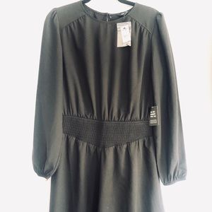 NWT Express Long Sleeve Black Flare Dress